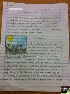 An expository article, written by a student, adding text features to help convey more information for the reader.