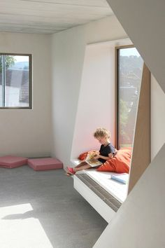 I like the way this creates an interesting window seat using simple shapes. You could enhance any angular window and make a deep seat using this method.