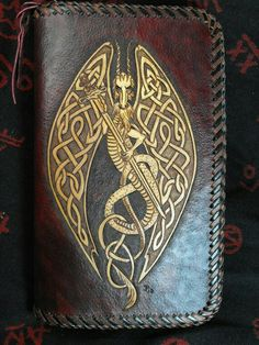 Hand Tooled Leather Celtic Dragon Day Planner by JPsLeather. Dragon Day, Celtic Dragon, Dragon Book, Leather Tooling Patterns, Leather Pattern, Celtic Symbols, Celtic Art, Celtic Knots, Celtic Patterns