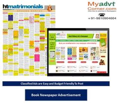 Publish Marriage Bureau Advertisement in Any Local and National Newspaper through Myadvtcorner: http://www.myadvtcorner.com/category-marriage-bureau
