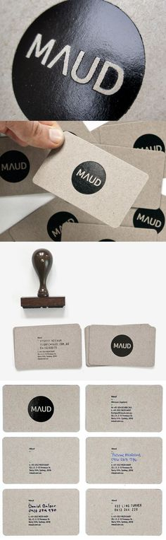 Maud Natural Business Cards - I'm enjoying the natural and personal look of these cards, In perticular I think the hand written area is very different and unique, People don't use their own hand writing enough! Stamped Business Cards, Unique Business Cards, Business Card Logo, Creative Business, Graphic Design Branding, Corporate Design, Business Card Design, Logo Design, Self Branding