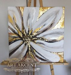 image of Arthouse Plaster Floral Canvas Wall Art - Salvabrani Art Studio Work in progress - an acrylic abstract painting on canvas, using Golden Fluid Acrylics (Toronto, Ontario) Abstract painting inspiration & ideas. Image: artwork by Deniz Altug Well, t Gold Leaf Art, Acrylic Art, Resin Art, Painting Inspiration, Flower Art, Canvas Wall Art, Painting Canvas, Art Drawings, Paintings Online
