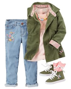 Newest trends in clothing for carters baby girls aged to really 36 several months. Find dresses, skirts, pants, mens winter coats and trainers. Baby Girl Fall Outfits, Little Girl Outfits, Toddler Girl Outfits, Little Girl Fashion, Toddler Fashion, Kids Fashion, Latest Fashion, Outfits Niños, Kids Outfits