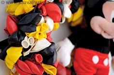 CUTE Mickey Mouse Birthday Party wreath made out of balloons! Tutorial via Karas Party Ideas   KarasPartyIdeas.com