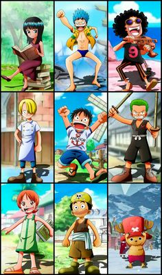 Strawhats when they were kids: Robin, Franky, Brook, Sanji, Luffy, Zoro, Nami, Usopp, Chopper