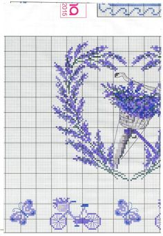 Bicycles and Lavender table linen with Heart page 10 Cross Stitch Owl, Cross Stitch Boards, Cross Stitch Flowers, Cross Stitching, Cross Stitch Embroidery, Hand Embroidery, Cross Stitch Patterns, Cross Stitch Collection, Mary And Jesus