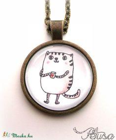 Cicás macskás nyaklánc fekete fehér, Ékszer, óra, Táska, Nyaklánc…