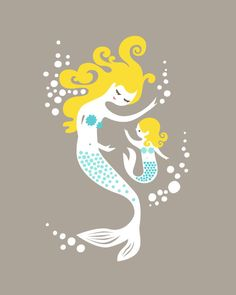 mermaid mother & daughter giclee print on fine art paper. Alice, My Baby Girl, Baby Baby, Mommy And Me, Fine Art Paper, My Images, Giclee Print, Art Print, To My Daughter