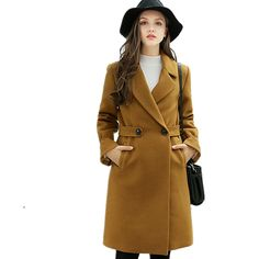 How to Sale Price US $23.93 Discount 5% New Winter Outerwear Women Coat Fashion Female Wool Blends Solid Color Womens Long Sleeve High Quality Super Warm Woolen Females to boost your business #Wool#Blends