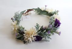 Flower Crown Lilac Purple & Ivory with Dusty by jewelfeathers
