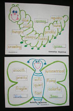 Classroom Freebies: Caterpillar and Butterfly Adjectives