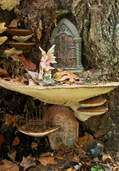 Hand Made Wooden Fairy Furniture Fairy Garden Houses, Gnome Garden, Garden Art, Fairy Land, Fairy Tales, Forest Fairy, Fairy Furniture, Gnome House, Love Fairy