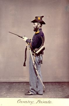 American Civil War Enlisted Uniforms - Cavalry Private. He is armed with a spencer carbine.