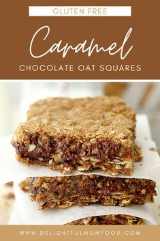 This Caramel Chocolate Oat Squares recipe is gluten free and so delicious! It is a creation of almonds, melted chocolate and chewy caramel sandwiched between two layers of sweet granola cookie base. They are better when warmed slightly—but it's hard to wait that long to take a bite! #glutenfreerecipes #glutenfreedesserts #glutenfreebaking #granolabars Gluten Free Cakes, Gluten Free Baking, Gluten Free Desserts, Fun Desserts, Gluten Free Recipes, Delicious Desserts, Dessert Recipes, Vegan Recipes, Dinner Recipes