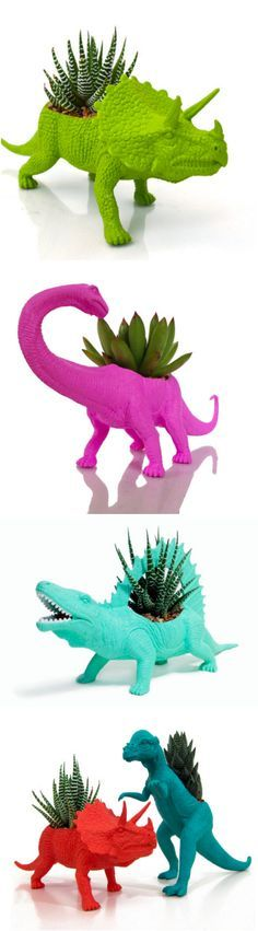 The Plaid Pigeon's delightful set of planters are made from repurposed toy dinosaurs.