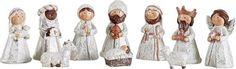 White Glittered Kids Christmas Nativity Scene, Set of 10 Rearrangeable Figures