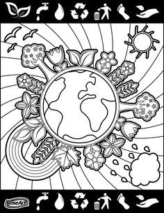 Happy World Environment Day! Earth Day Coloring Pages, Colouring Pages, Coloring Books, Social Skills Activities, Classroom Activities, Harmony Day, Earth Day Crafts, Earth Day Activities, World Environment Day