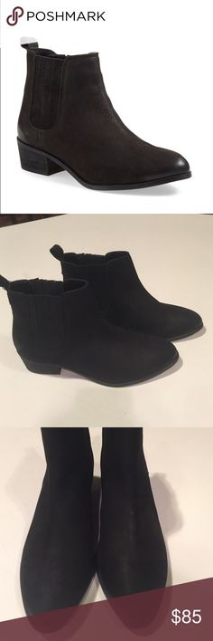 "Steve Madden ""Nylie"" Chelsea Boot Black Nubuck Steve Madden ""Nylie"" Chelsea Boot Black Nubuck. Size 7. Currently being sold at Nordstrom for $110! These boots get great reviews! Display shoe in excellent condition! Please feel free to ask for more pictures. Steve Madden Shoes Ankle Boots & Booties"