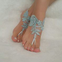 6 Color Barefoot Beach Wedding Bridal Accessories Lace Ankle Bridesmaids Gifts Jewelry Sandals Shoes Handmade Woman Embroidered Bangles
