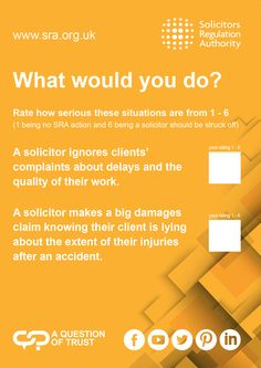 The Solicitors Regulation Authority (SRA) regulates solicitors in England and Wales. Report a solicitor, check a solicitor's record or learn what to expect from your solicitor. Protecting consumers of legal services University Of Warwick, Conference, Law, Advice, Author, This Or That Questions, Tips, Writers