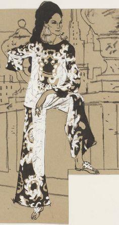 Fashion illustration by Fred Greenhill (1925-2007).