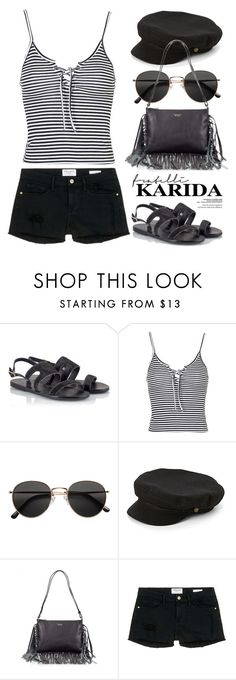 """Ancient Greek Sandals - ATHANASIA - Fratelli Karida 1891"" by boxthoughts ❤ liked on Polyvore featuring Ancient Greek Sandals, Topshop, H&M, Brixton, Tosca Blu, Frame Denim and FratelliKarida"