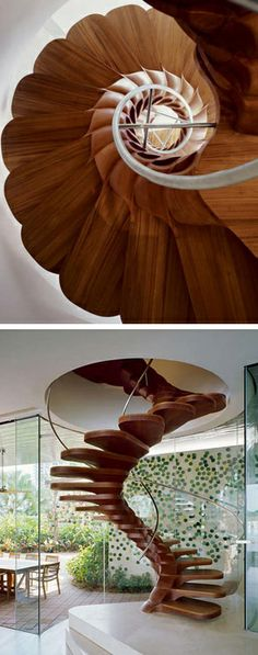 Floral wood staircase Love this organic design Wood Staircase, Spiral Staircase, Staircase Design, Beautiful Stairs, Beautiful Buildings, Amazing Architecture, Interior Architecture, Biomimicry Architecture, Interior Exterior