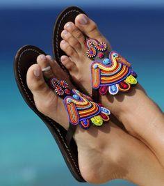African perles sandales en cuir multicolores Masaï par simkelstudio