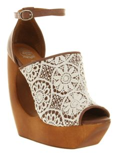 Jeffrey Campbell ivory lace wedges.
