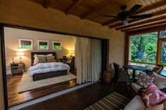 gorgeous bedroom off of screened porch