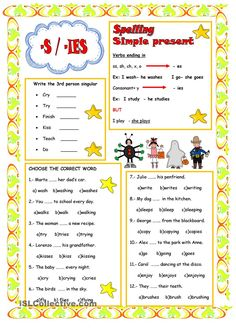 Some grammar rules and exercises for your sts. Grammar: Present simple tense; Kids English, English Study, English Lessons, Learn English, Grammar For Kids, Teaching English Grammar, English Vocabulary, Spelling Rules, Grammar Rules