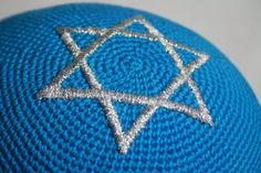 kippah custom request turquoise with silver Star by crochetkippah