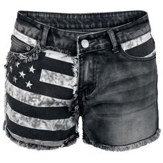 Dressation Womens Punk Style Flag Design Shorts Jeans Pants Black ($30) ❤ liked on Polyvore featuring shorts