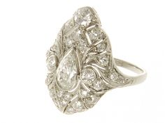 1920s Art Deco Platinum Diamond Ring
