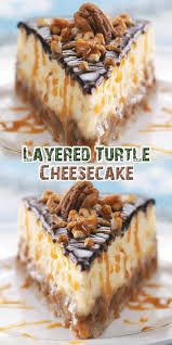 After receiving a request for a special turtle cheesecake and not finding a good recipe, I created my own. Everyone is thrilled with the results and this cheesecake remains a favorite at the coffee shop where I work. Chocolate Turtle Cheesecake Recipe, Ultimate Turtle Cheesecake Recipe, Turtle Cheesecake Recipes, Homemade Cheesecake, Caramel Cheesecake, Cheesecake Bites, Pumpkin Cheesecake, Layered Cheesecake Recipe, Birthday Cheesecake