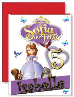 Personalized Birthday Greeting Card Sofia the First Personalized Greeting Cards, Custom Greeting Cards, Birthday Greeting Cards, Birthday Greetings, Personalized Gifts, Birthday Gifts, Family Vacation Shirts, Red Envelope, Sofia The First