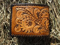 Mens Leather Wallet With Handtooled Vintage Design. $65.00, via Etsy.