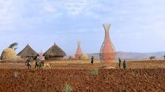 A Simple, Elegant Invention That Draws Water From Air | WBUR & NPR.  The WarkaWater gathers water from fog and condensation. Named after an Ethiopian fig tree, it consists of a 30-foot bamboo frame and a nylon net. It was invented by an Italian firm and three of them are shown here in an Ethiopian village. (Courtesy of Architecture and Vision)