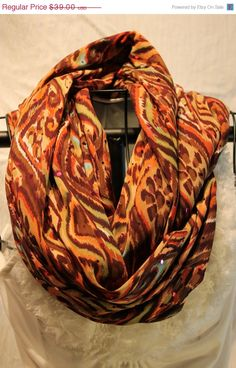 SALE Fall infinity scarf multi colored Long by ScarfLadyDesigns, $29.25