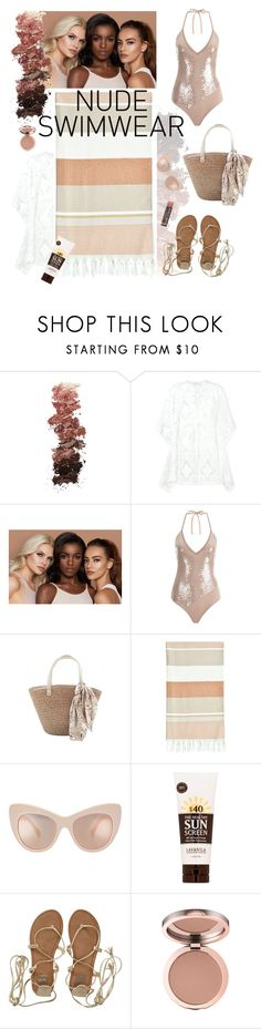 """""""Nudist"""" by tophercouture ❤ liked on Polyvore featuring L.A. Girl, Celia Dragouni, tarte, Linum Home Textiles, Lavanila, Billabong, nude, swimsuit and bronzedbeauty"""