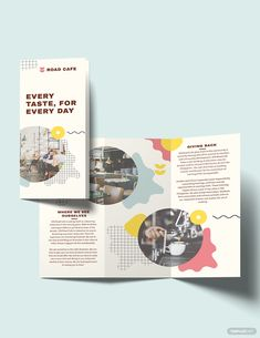 Cafe Tri-Fold Brochure Template - Are you in the market for a professional yet eye-catching promotional tool that will surely entice - Brochure Indesign, Brochure Folds, Template Brochure, Brochure Layout, Adobe Indesign, Adobe Photoshop, Pamphlet Template, Free Brochure, Pamphlet Design