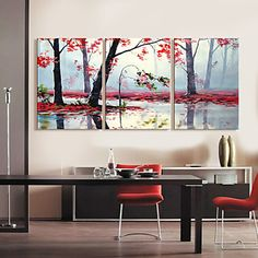 Op gespannen doek kunst Landschap Bomen door het meer Set van 3 – AUD $ 72.77