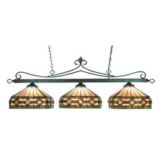 Tiffany Lighting 3 Light Billiard In Tiffany Bronze And Multicolor Tiffany Glass 190-11-TB-T8