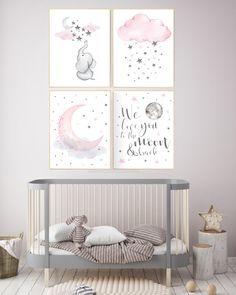 Pink gray nursery art, nursery decor elephant, nursery decor girl cloud, we love . # decor # elephant # nursery # art - My Website 2020 Baby Room Art, Baby Wall Art, Baby Room Decor, Girl Room, Child Room, Wall Décor, Elephant Nursery Decor, Moon Nursery, Elephant Wall Art