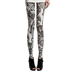 JollyChic Women's Skull Print Design Bodycon Leggings Tights at Amazon Women's Clothing store: