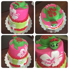 Turtle Hawaiian birthday cake. Pink & green for a little girl.
