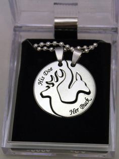 Buck and Doe necklace set w Engraved Names for by VenturinGraphics