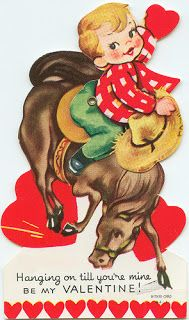 Here are a heap o' cowboy/cowgirl images for you to print and use on your cowboy tag. Some are repe. Vintage Valentine Cards, Vintage Cards, Vintage Images, Little Cowboy, Cowboy And Cowgirl, Cowgirl Images, Gifs, Handmade Card Making, Old Cards