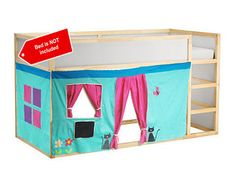 Bed Playhouse / Bed tent / Loft bed curtain - free design and colors customization Kura Bed Hack, Ikea Kura Bed, Surf Shack, Kid Beds, Bunk Beds, Bunk Bed Playhouse, Playhouses For Sale, Kids Bed Tent, Loft Bed Curtains