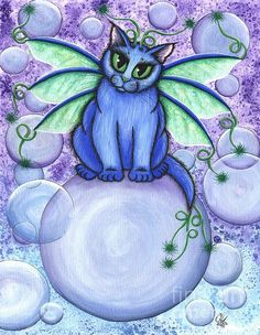 Items similar to Whimsical Cat Painting Bubble Fairy Cat Kawaii Cat Blue Cat Big Eye Art Fantasy Cat Art Print Cat Lovers Art on Etsy